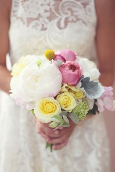 wedding bouquet - soft cream, lemon and pink - whimsical