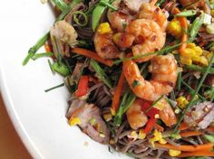 Soba salad with grilled shrimp, green beans, and Vietnamese vinaigrette