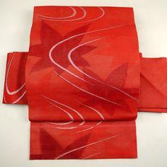 Red, silk nagoya obi for summer / 夏帯/普段使いに。【リサイクル…