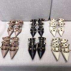 ⭐️Valentino. VLTN woman rockstuds collection big studs flats & heels sandals slippers smooth leather 1.5/3.5cm Studded Flats, Valentino Shoes, Smooth Leather, Studs, Slippers, Brooch, Woman, Sandals, Big