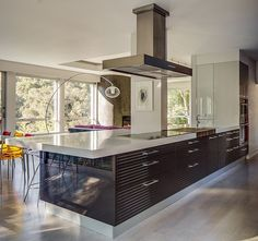 Home Design, Awesome Big Kitchen Island Equipped Brown Cabinet With Stylish Glass Kitchen Stool And White Wooden Flooring Design In Modern T...