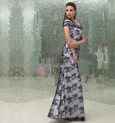 Winter/Summer Ladies Elegant Unique Beautiful Black And White Sheath/Column Floor Length Lace Off Shoulder Long Evening Dresses/Mother Of The Bride Dresses/Wedding Guest Dress With Sleeveless