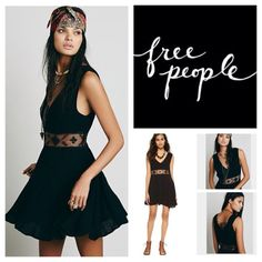 "Free People Black Swing Mini Dress.  NWT. Free People Black Swingy Mini Dress, 100% rayon, washable, 17.5"" armpit to armpit (35"" all around), 33"" waist (no stretch), 33"" middle length, 36"" side length, sheer crochet waistband, hip pockets, pullover style, plunging V neckline, adjustable tie in back, lined skirt, asymmetrical hem, measurements are approx.  No PayPal...No Trades... Free People Dresses Mini"