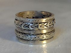 Vintage Sterling Cigar Band    Wide Band   Size 6    Width 12  Scrolled Motif by GemstoneCowboy on Etsy