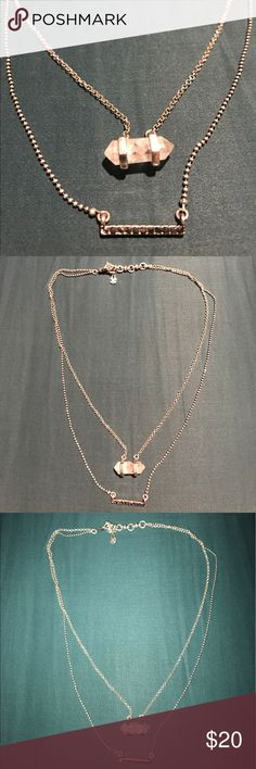Layered Necklace Luck brand silver stone necklace Lucky Brand Jewelry Necklaces