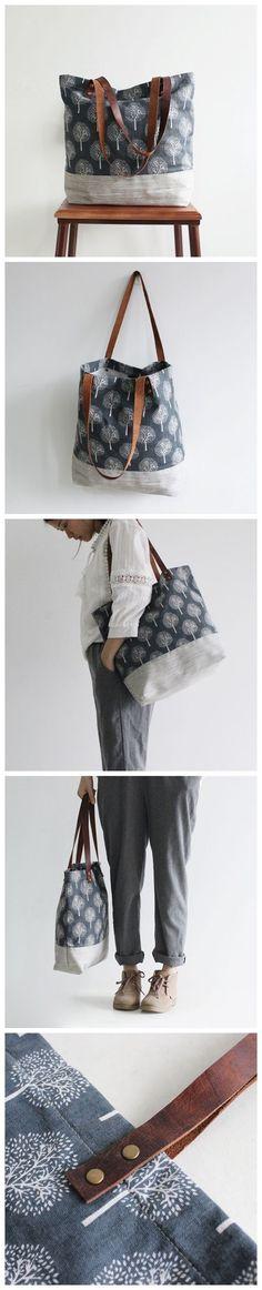 Original Handmade Canvas and Leather Casual Tote Shoulder Bag Carry all Bag #diyhandbag