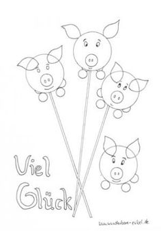 Schablonen/Ausmalen-Gluecksschwein