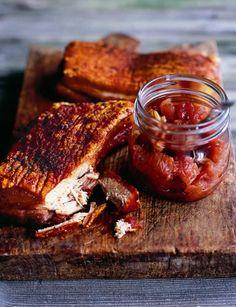 Roast pork belly with apple, sour cherry and fennel chutney, Anna Hansen