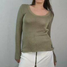 Armani Jeans Size 14 US 10 Sage Green Loose Knit Semi Sheer Jumper Sweater Knit #ArmaniJeans #Pullover #Casual