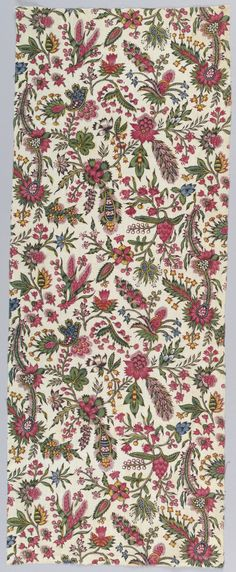 1775-1800 ca. Block Printed Cotton. Dense pattern of small scale, brightly colored exotic plants on a white background. images.collection.cooperhewitt.org   suzilove.com