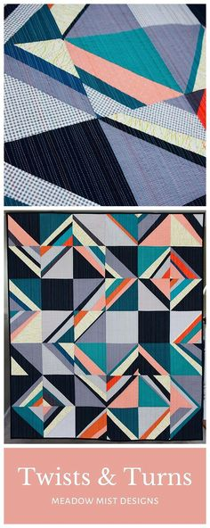 Twists & Turns by Cheryl of Meadow Mist Designs is a modern half square triangle based quilt design. The quilt was juried into QuiltCon Together 2021 in the Fabric Challenge category. #quiltcon #quiltcontogether #meadowmistdesigns #halfsquaretrianglequilt Modern Quilting Designs, Modern Quilt Patterns, Paper Piecing Patterns, Quilt Patterns Free, Strip Quilts, Easy Quilts, Geometric Quilt, The Quilt Show, Half Square Triangle Quilts