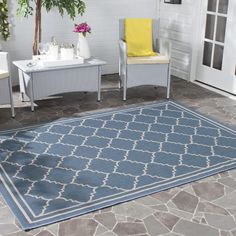 Safavieh Gresham Blue Indoor/Outdoor Area Rug & Reviews | Wayfair UK