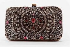 Jaipur Metalwork Leather Box Clutch studded with cubic zirconia with antique finish. The ultimate statement clutch by Meera Mahadevia
