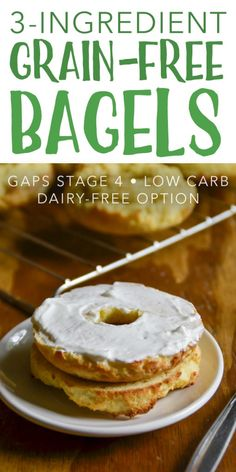 Diet Snacks Grain-Free Bagels :: GAPS-Intro, Low Carb - Enjoy breakfast again with these easy, Grain-Free Bagels! They're perfect for a GAPS-Intro, primal, or low carb diet. Gluten Free Recipes, Low Carb Recipes, Real Food Recipes, Scd Recipes, Gaps Diet Recipes, Gluten Free Grain Free Bread Recipe, Protein Recipes, Wrap Recipes, Sweets Recipes