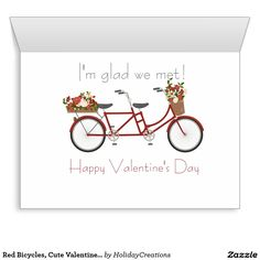 Red Bicycles, Cute Valentines Day Card