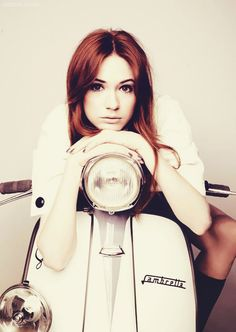 """Karen Gillan on a Lambretta Previous poster asked, """"why is she so pretty?"""" My answer because she is, simple as that."""