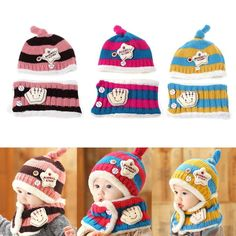 3e39bb192ecee7 Baby Hat With Scarf Toddler Winter Beanie Warm Hat Hooded Scarf Earflap  Knitted Cap Cute Woolen Kids Hat Scarf Set