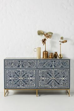 For stunning bone inlay pieces look no further than Zohi Interiors. Take this beautiful Bone Inlay Scroll Vine Buffet in Blue as an example. Hanging Furniture, Painted Furniture, Furniture Design, Plywood Furniture, Chair Design, Furniture Ideas, Modern Furniture, Home Interior, Interior Decorating
