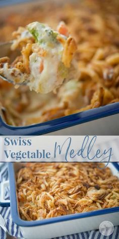 Swiss Vegetable Medley Casserole made with broccoli, carrots and cauliflower in a cheesy mushroom sauce; then topped with fried onions. #casserole #vegetables #sidedish #vegetablecasserole Homemade Green Bean Casserole, Carrot Casserole, Casserole Dishes, Casserole Recipes, Vegetable Casserole, Classic Green Bean Casserole, Vegetable Side Dishes, Vegetable Recipes, Broccoli Recipes