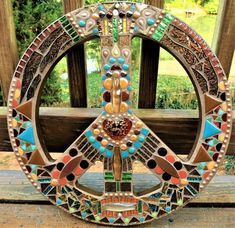 "MOSAIC PEACE Sign - 16"" Round - Bohemian Art - Glass Gems, Beads, Teal, Green, Earth Tones, Metallic"