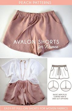 Crochet Patterns Pants Avalon Shorts PDF Sewing Pattern for Women What About Amazing Easy Sewing Projects ? Free Sewing patterns for Athletic Wear: Learn how to make easy Athletic wear, workout outfits for your daily routine. Ready to check this free patt Sewing Hacks, Sewing Tutorials, Sewing Tips, Sewing Ideas, Sewing Crafts, Sewing Basics, Sewing Lessons, Upcycled Crafts, Short Court