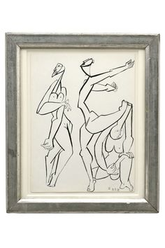 Figural ink drawing on paper in antique frame. French School, 1978