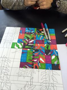 Use design to teach color theory concepts...further divide stencil drawing to allow sections (analogous, complementary, mono, primary, secondary, tertiary, gray scale)