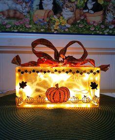 Halloween Room Decor/  Fall Glass Block/  Home Decor/  Room Centerpiece/ Lighted Glass Block