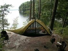 Hammock tent. Very clever option for camping / hicking with small backpack