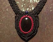 Macrame jewelry necklace with black agate centerpiece-The circle of red