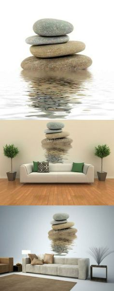 Zen Spa Stones Studio Isolated - 36H x 34W - Peel and Stick Wall Decal by Wallmonkeys ALL orders CUSTOM printed. When you place an order, the image is made in the USA, just for you!. Printed on WHITE, premium, self-adhesive, re-positionable fabric paper.. No nails, frames or glue. No professional installation required.. Simply peel and stick! Easy to remove and re-apply.. BE SURE you ordered the... #Wallmonkeys_Wall_Decals #Home