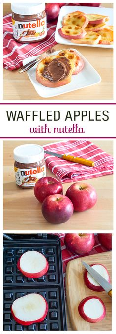 Warm up your morning with waffled apples and Nutella®. Core and cut an apple into slices, and place a few slices onto your greased waffle maker. Then cook for a minute. You'll love these waffled apples hot off the press with Nutella®.