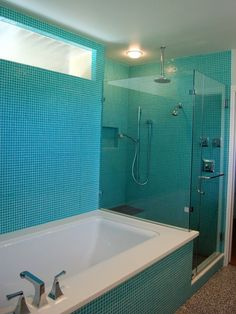 Modern Turquoise Tiles | Mosaic Turquoise Tile Sea Colors Mosaic Tile  Bathrooms, Glass Tile Bathroom