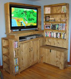 Entertainment centre built to hold kid's toys.  Toy chest on the side with book shelf above and large cabinet under the T.V for larger toys.  Also puts the T.V up high away from flying objects and fingers.