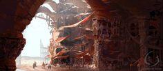 ArtStation - Desert Cave Market City Photobash, Cassandre Bolan