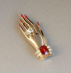 ADOLF KATZ Vintage CORO Friendship Hand Brooch
