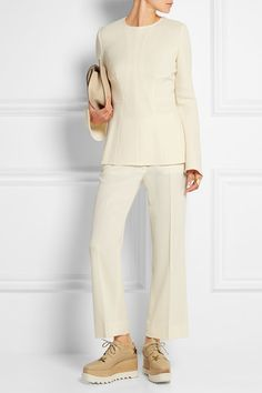 Wooden heel measures approximately 3 inches with a inches platform Beige and burnished-gold faux leather Lace-up front Brogues Outfit, Crepe Top, Maria Black, Stella Mccartney Elyse, Black Rings, White Tops, Runway Fashion, Wool Blend, Platform