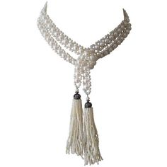 Elegant Open Wrap-around Pearl Sautoir ❤ liked on Polyvore featuring jewelry, necklaces, tassel necklace, braided necklace, pearl jewellery, white tassel necklace and wrap around necklace