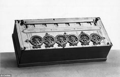 Blaise Pascal's calculating machine - another 17th Century mechanical marvel - is pictured