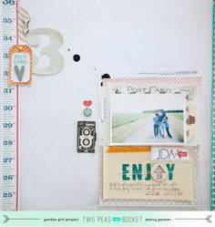 "Love the arrow in placeof the ""o"" in enjoy. Layout by Marcy Penner - love this photo mat"