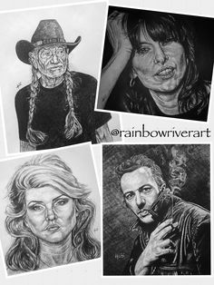 The latest additions to the #musicalfacesseries by #rainbowriverart ! Thanks for looking. ☺️ #art #artist #artistsoninstagram #artistsofinstagram #illustration #graphitedrawing #drawing #heidi  @willienelsonofficial @blondieofficial @chrissiehyndemusic @thepretendershq @the_clash Rainbow River, Graphite Drawings, The Clash, Hyde, Pencil, Sketches, Fine Art, Rock, Facebook