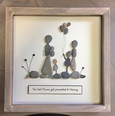 Family Picture Pebble art gift for Mum Fathers Day Made to