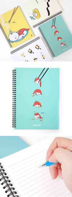 It makes me smile whenever I see this notebook with unbearably adorable and fun sushi illustration!