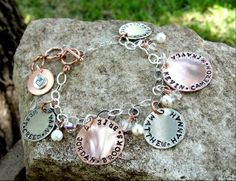 Mother/Grandmother Hand Stamped Charm Bracelet by FunkyFishJewelry, $50.00
