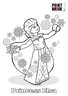 Disegni da Colorare LEGO Disney Princess - Frozen Princess Elsa - Clicca sull'immagine per scaricarla gratuitamente!