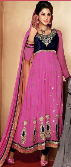 $84.61 Pink A Line Faux Georgette Embroidery Anarkali Suit 26302