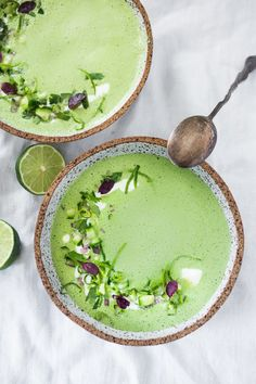 Cool and refreshing Cucumber Gazpacho with yogurt, cilantro, coriander and lime. Top this with shrimp or keep it vegetarian! So tasty. | www.feasingathome.com