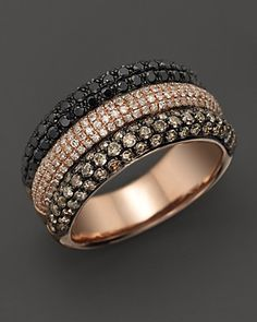 Black, Brown, and White Pavé Diamond Band in 14K Rose Gold, 1.85 ct. t.w. | Bloomingdale's