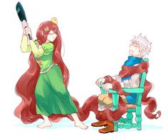 Hungary as Rapunzel and Prussia as Flynn- best crossover ever >W<