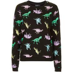 Women's Topshop Fleece Lined Dinosaur Sweatshirt (175 BRL) ❤ liked on Polyvore featuring tops, hoodies, sweatshirts, sweaters, shirts, jumper, fleece lined shirt, topshop shirt, fleece lined sweatshirt and topshop tops